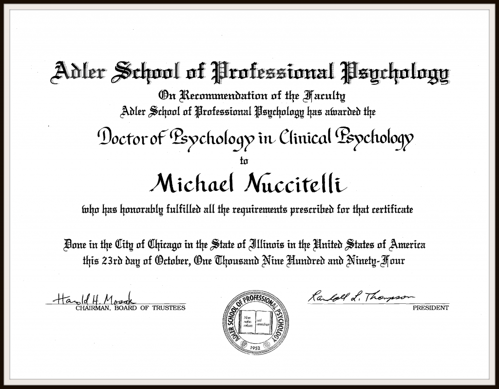 Dr. Michael Nuccitelli Adler School Doctoral Degree