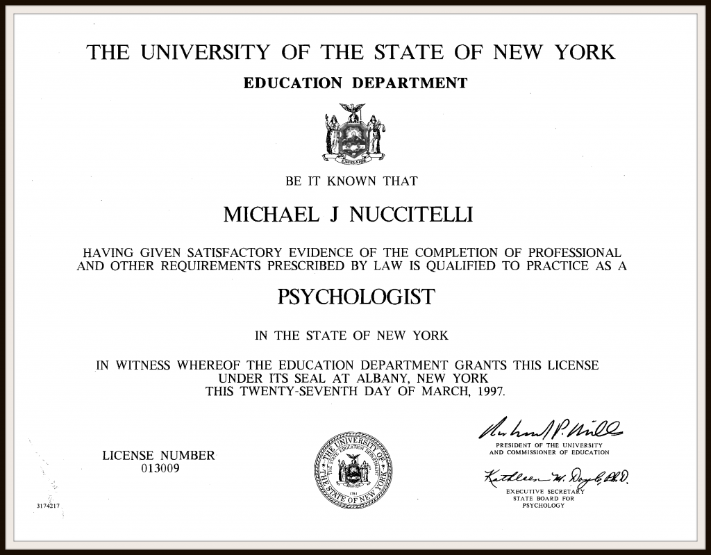 Dr. Michael Nuccitelli NYS Doctoral Degree