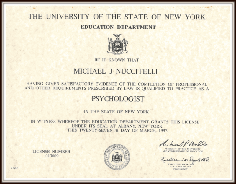 Michael Nuccitelli, Psy.D.-NYS Licensed Psychologist Degree-1997