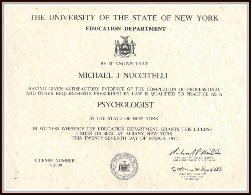 Michael Nuccitelli, Psy.D.-NYS Licensed Psychologist Degree-1997