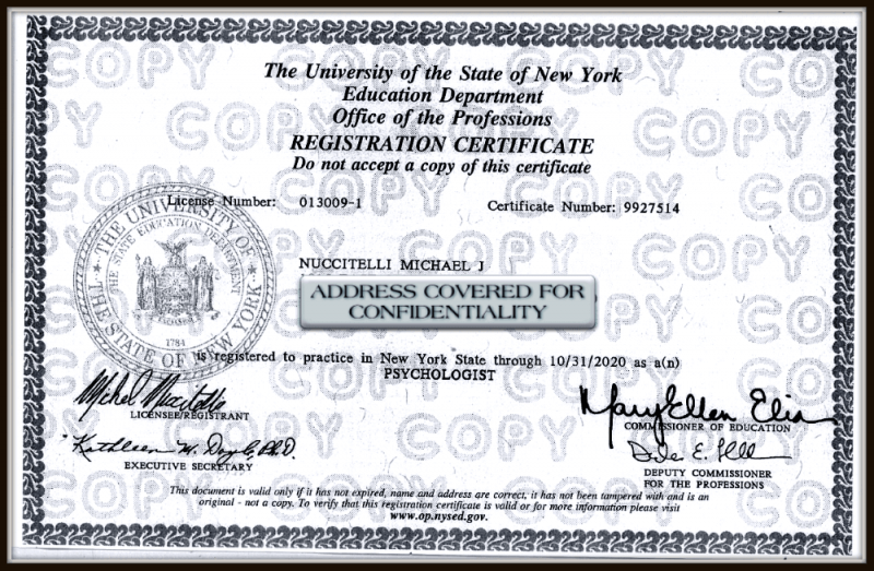 Michael Nuccitelli, Psy.D.-NYS Psychologist License - 2020